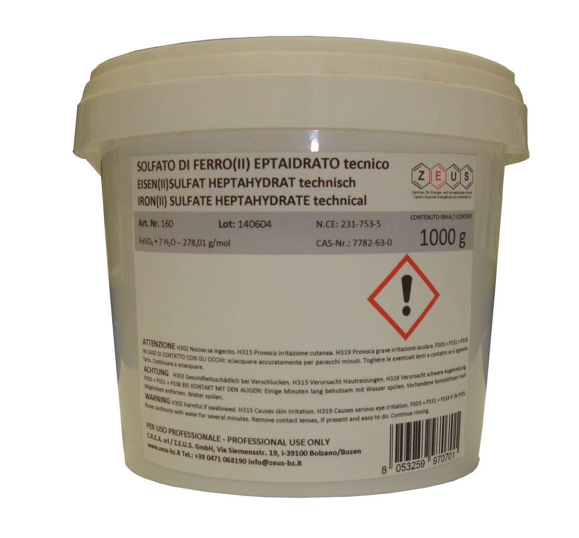 Solfato di ferro ii eptaidrato tecnico feso4 x 7 h2o for Prezzo del ferro al kg oggi